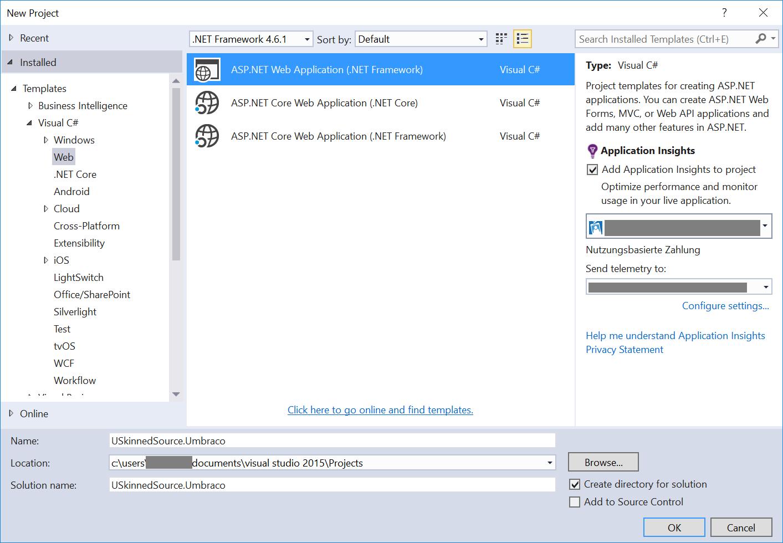 Aufsetzen von Umbraco lokal und in Azure mit Visual Studio 2015 ...